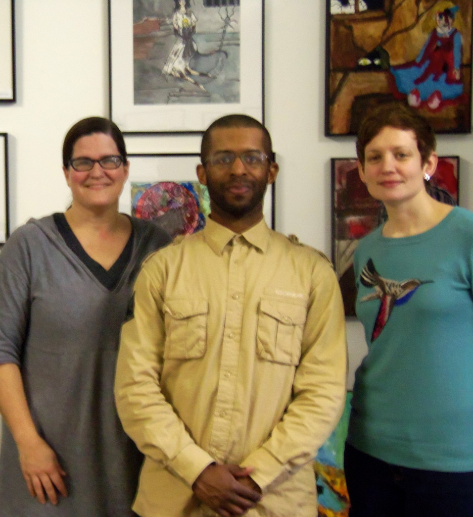 (left) Cathy Goucher (center) Kareem Samuels (right) Jill Scheibler